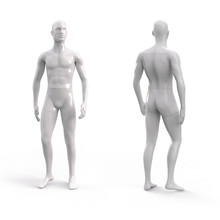White Plastic Male Mannequin For Clothes. Commercial Equipment For Shop Windows. Front And Back View. 3d Illustration Isolated On A White Background.