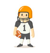 American football player in uniform, cartoon character. Colorful flat vector illustration, isolated on white background.