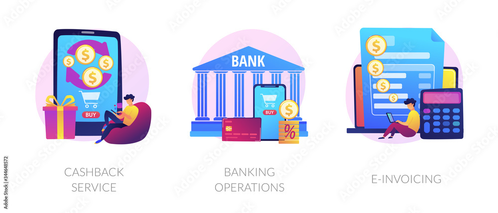 Fototapeta E banking icons set. Return on investment, financial services, internet tax payment. Cashback service, banking operations, e-invoicing metaphors. Vector isolated concept metaphor illustrations