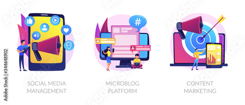 SMM business, internet blogging network, advertising strategy icons set Wallpaper Mural