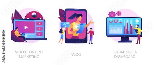 Digital advertising business, online streaming, user statistics analysis icons set Canvas Print