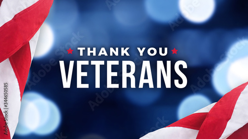 Obraz Thank You Veterans Text with American Flag Over Blue Lights Background for Memorial Day and Veterans Day Holidays - fototapety do salonu