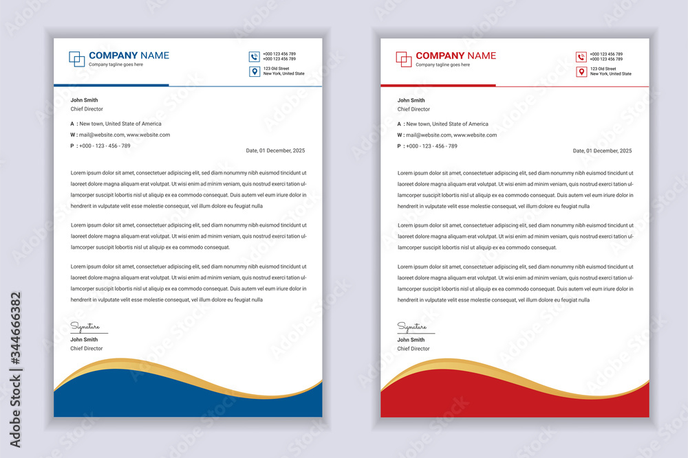 Fototapeta Business Professional Letterhead Template Design With Red And Blue Color Shape