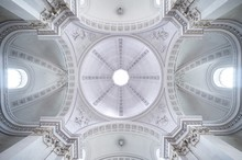 Directly Below Shot Of Church Ceiling
