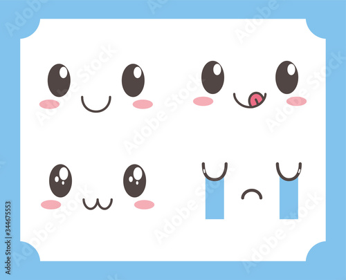 kawaii lovely adorable eyes mouths facial expressions Canvas Print