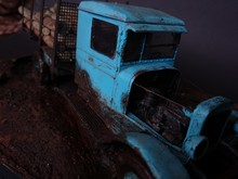 Close-up Of Abandoned Toy Pick-up Truck On Field