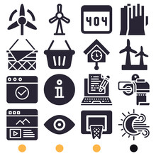 Simple Set Of 16 Filled Icons ...