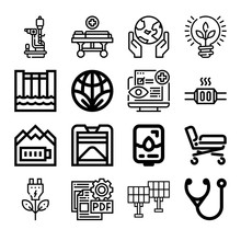 Set Of 16 Enduring Lineal Icons