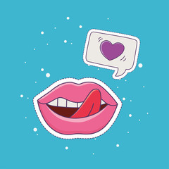 lips tongue out love patch fashion badge sticker decoration icon