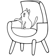 A Kitten Is Sitting On An Armchair. A Pet. The Element Of The Interior. Vector Illustration In Doodle Style. Contour On An Isolated White Background. Sketch. Furniture For Home And Office. Cat.