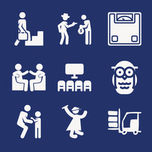 Set Of 9 Considered Filled Icons
