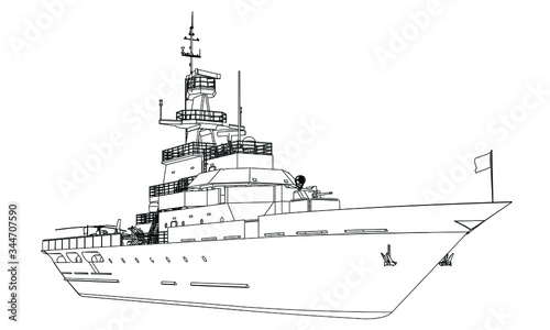 Canvastavla Military ship outline vector