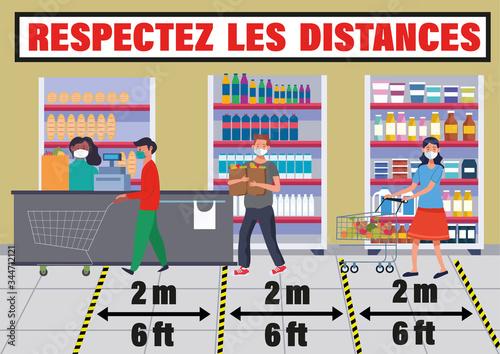 Obraz na plátně carte ou bandeau sur respectez les distances de sécurité entre personnes portan