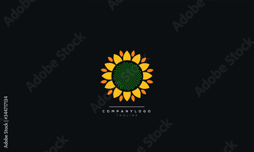 Fotografering Logo and symbol of sunflower for Thanksgiving Day