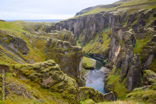 Beautiful Fjadrargjlufur canyon Canvas Print