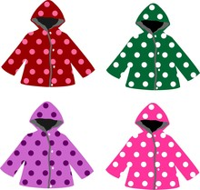 Set Of Kids Raincoats With Pol...
