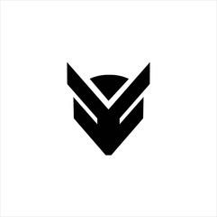 Black geometric logo of an abstract fox head