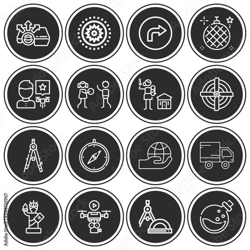 Photo 16 pack of autonomy  lineal web icons set