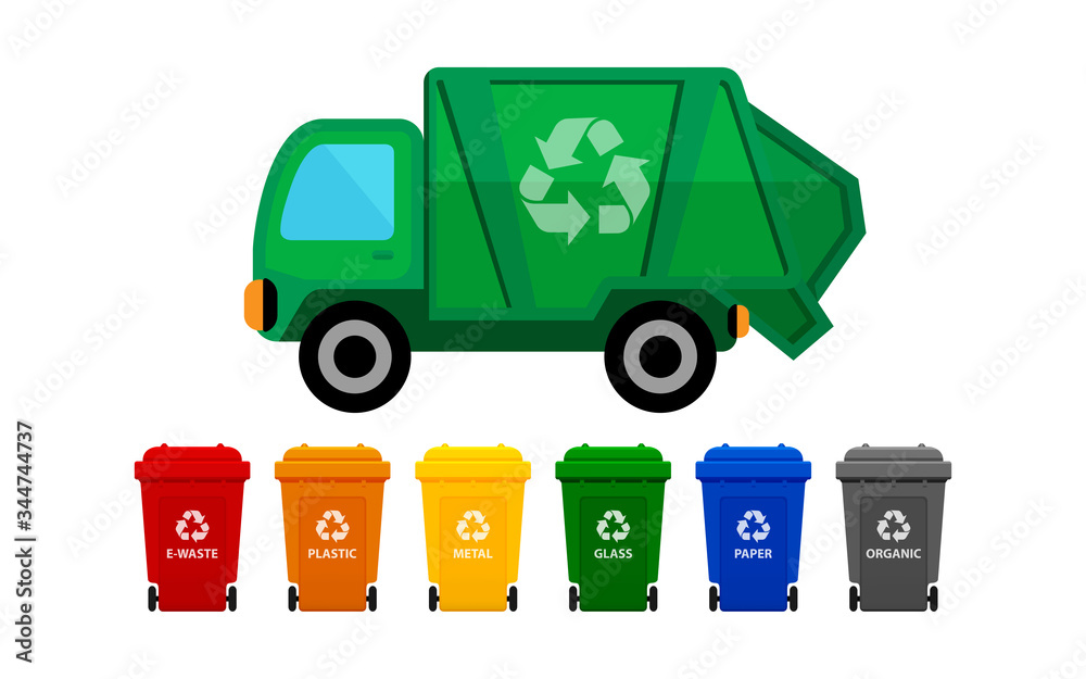 Fototapeta garbage truck and various types of trash bin isolated on white background, recycle truck waste and bins multi colors, garbage truck and dustbin with wheels, garbage truck green and wheel trash bin
