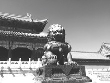 Low Angle View Of Sculpture At Tiananmen Square Against Clear Sky