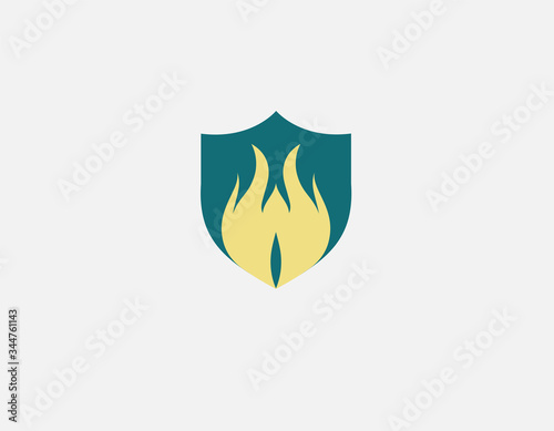 Fotografie, Obraz Creative logo icon shield and flame, protection system, for your company