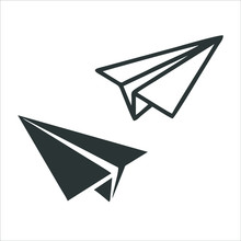 Paper Plane Icon Isolated On W...