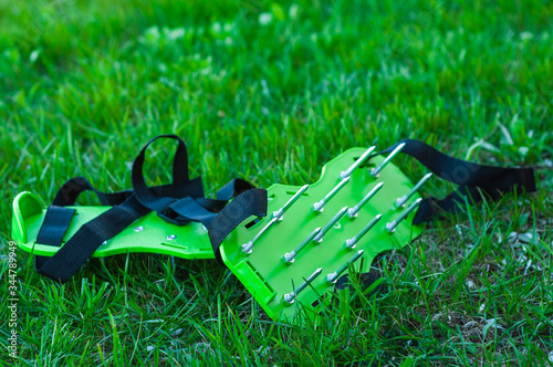 Slika na platnu Special tool for aeration and swelling of the soil and lawn care.
