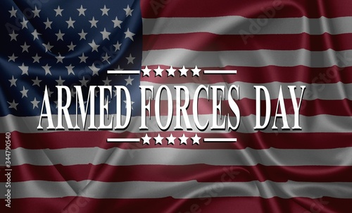 Fotografia ARMED FORCES DAY , Poster with USA flag