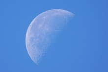 Close-up Of Crescent Moon In Clear Blue Sky