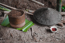 Traditional Thai And Lao Woven Bamboo Basket Called Kratip That Are Used As Containers For Cooking Rice