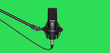 canvas print picture - microphone isolated on green background. Condencer Mic