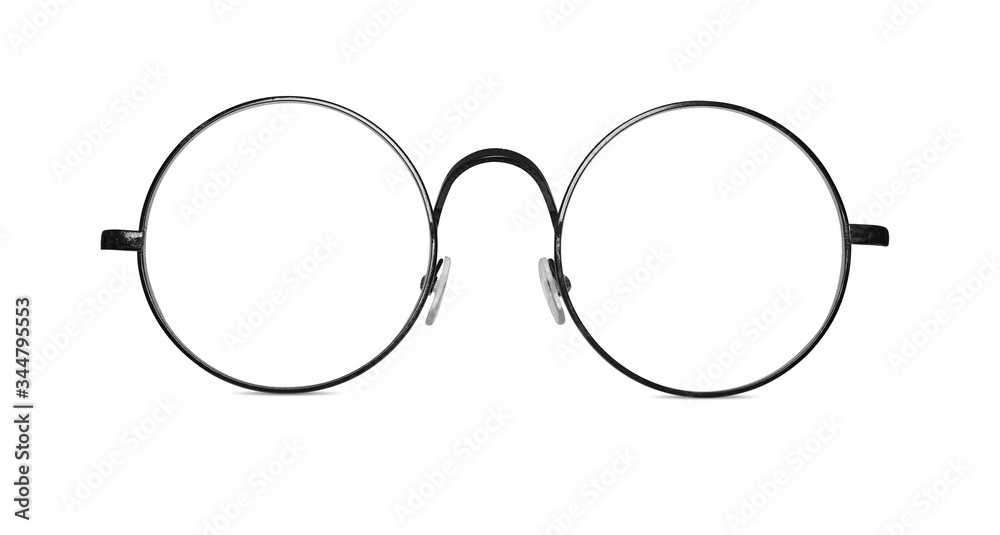 Fototapeta Circle vintage glasses. Round eyeglasses isolated