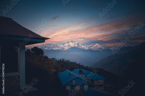 Fototapeta View of the Annapurna Mountain Range from Poon Hill Ghorepani, in Pokhara Nepal during the trek obraz