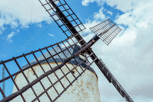 Windmill blades in an aberrant frame of diagonal composition. Canvas Print
