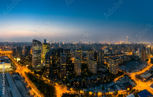 Night view of the city around the Huangpu River Expo Park in Shanghai, China Canvas Print