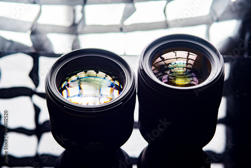 Photo lens photographed in backlight close-up set. Canvas Print