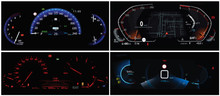 Vector Car Dashboards Collage. Four Different Types Of Full Digital Car Cluster. Instrument Panel With Speedometer, Tachometer, Odometer, Fuel Gauge, Oil Temperature Gauge And Seat Belt Reminder.