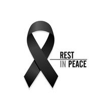 Black Ribbon. Rest In Peace. Vector Illustration