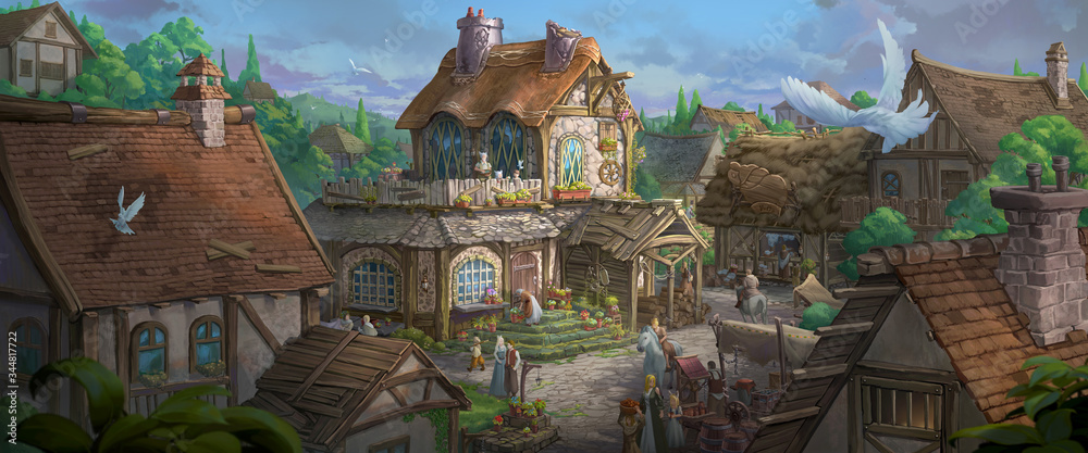 Fototapeta An illustration of the small medieval fantasy garden house in a town.