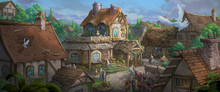 An Illustration Of The Small Medieval Fantasy Garden House In A Town.