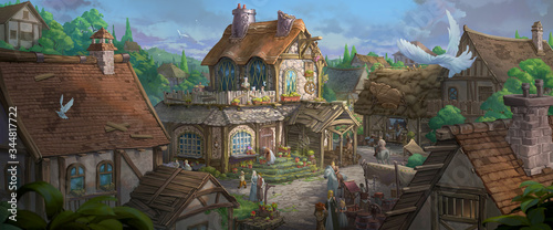 An illustration of the small medieval fantasy garden house in a town Fototapete