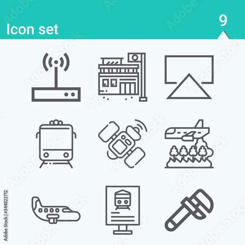 Simple set of station related lineal icons. Wallpaper Mural