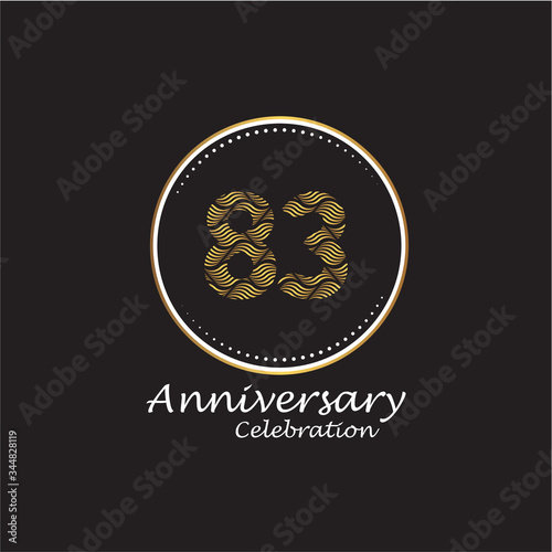 Papel de parede 83 years anniversary celebration logo vector template design