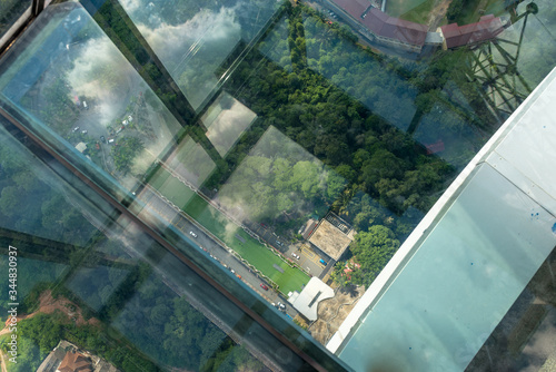View down from the sky box of the Kuala Lumpur television tower Canvas Print