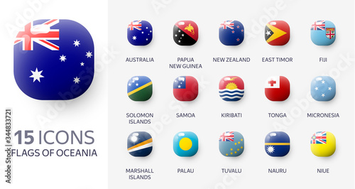 Realistic 3d glossy icons of Oceania countries, Oceanian flags Canvas Print