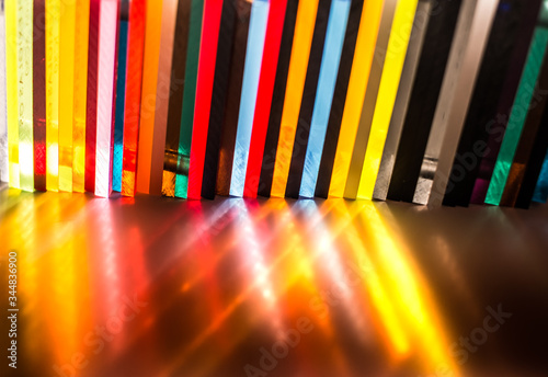 light through Stack of different colours Cast Acrylic Sheet on black background Canvas Print