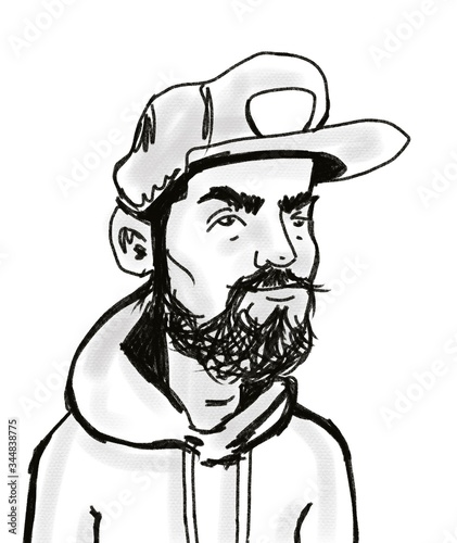 Fotografie, Tablou hand drawn sketch portrait of cartoon character young brutal bearded handsome ma