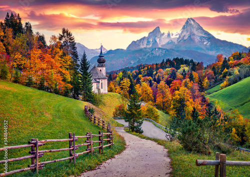 Obraz Iconic picture of Bavaria with Maria Gern church with Hochkalter peak on background. Fantastic autumn sunrise in Alps. Superb evening landscape of Germany countryside. Traveling concept background.. - fototapety do salonu