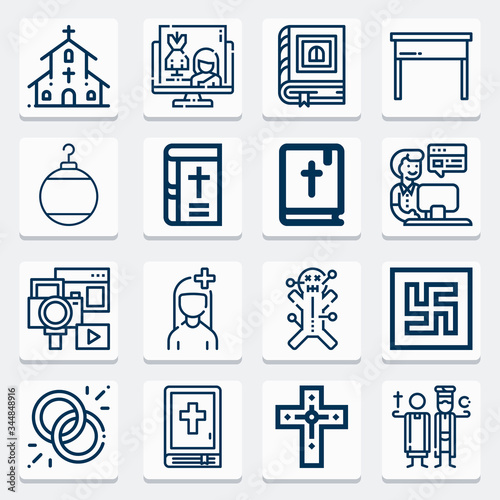 Photo Simple collection of adherents related lineal icons