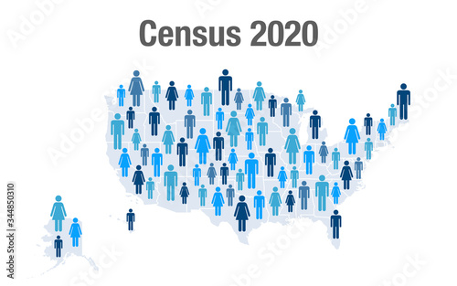 Population map of the United States for the 2020 census Canvas-taulu